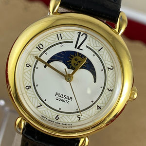 Vintage Pulsar Moon Phase Gold Tone Watch